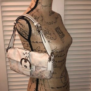 Coach white canvas and braided leather purse